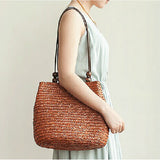 Straw Handbag with Beading