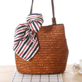 Straw Handbag with Beading - Brown
