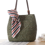 Straw Handbag with Beading - Green