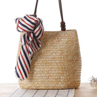 Straw Handbag with Beading - Natural