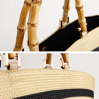 Woven Straw Handbag with Bamboo handles