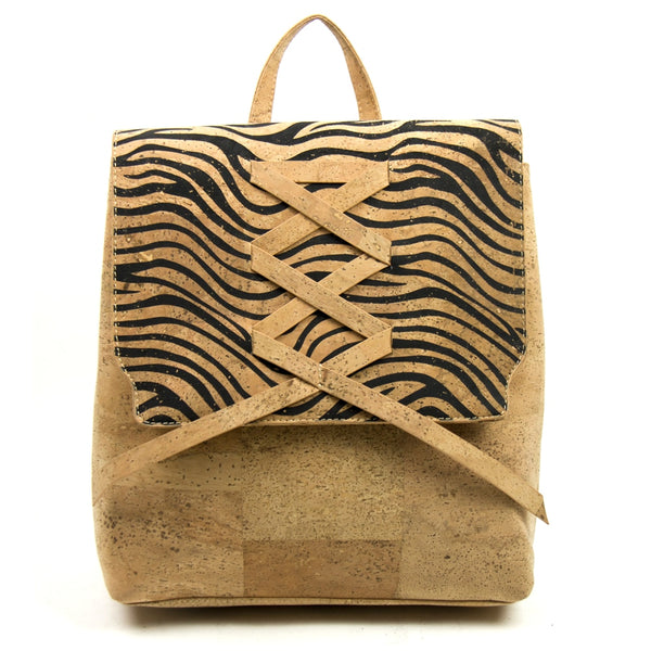 Cork Backpack with Black Patterns