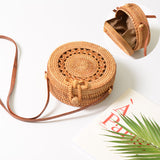 Handmade Round Rattan Handbags with Flower Pattern
