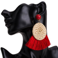 Round Rattan Earrings with Tassel Fringe