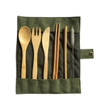 6 Piece Japanese Style Wooden Bamboo Cutlery Set