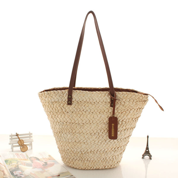 Rattan Straw Shoulder Handbag