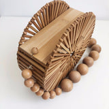 Circle Bamboo Basket Handbag with Beaded Shoulder Strap top view