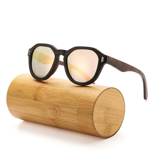 Ebony Layered Wooden Sunglasses with barbie powder lenses