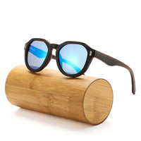 Ebony Layered Wooden Sunglasses with blue lenses
