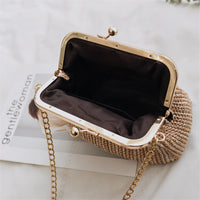 Small Straw Shoulder Handbag with Gold Chain Strap