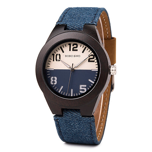 Wooden Watch with Contrast Face and Canvas Strap