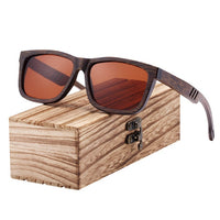 Dark Wooden Sunglasses with Hollow Arm Detail