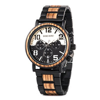 Wooden Multifunction Watch with Contrast Face