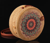 Round Vintage Handmade Rattan Shoulder Bag with Patterns