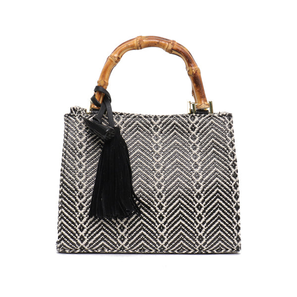 Woven Cotton Handbag with Bamboo Handles