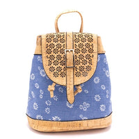 Vegan Cork and Blue Cotton Backpack