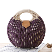 Purple Snails Nest Straw Handbag