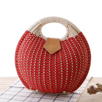 Red Snails Nest Straw Handbag