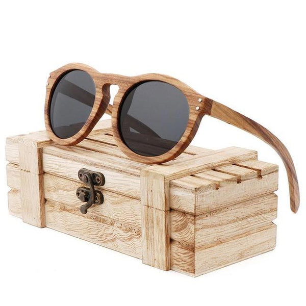 Round Zebra Wood Sunglasses