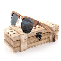 Vintage Wooden Semi-Rimless Sunglasses with Grey lenses