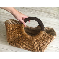Vintage Straw Handbag with Wooden Handles