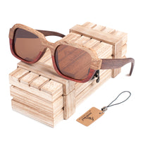 Two-toned brown lens wooden sunglasses with wooden chest