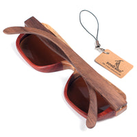 Two-toned wooden sunglasses back view