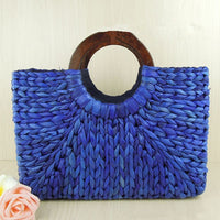 Vintage Straw Handbag with Wooden Handles - Blue