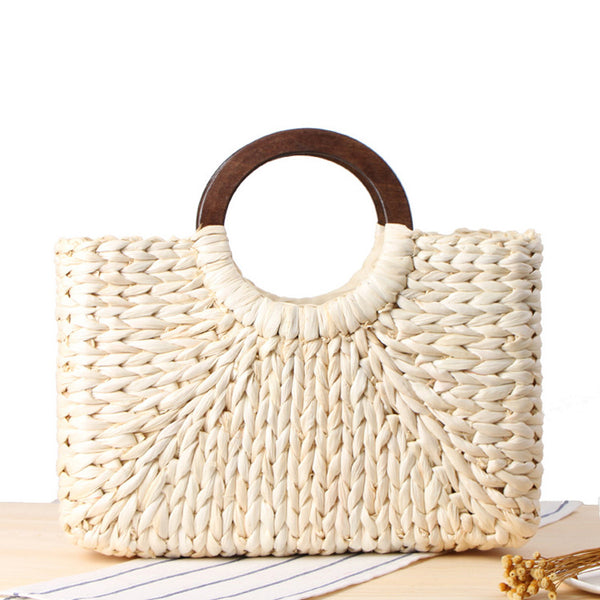 Vintage Rattan Handbag with Wooden Handles - Off-White