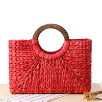 Vintage Straw Handbag with Wooden Handles - Red