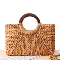 Vintage Straw Handbag with Wooden Handles - Brown