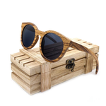 Round Zebra Wood Cat Eye Sunglasses with Wooden chest gift box