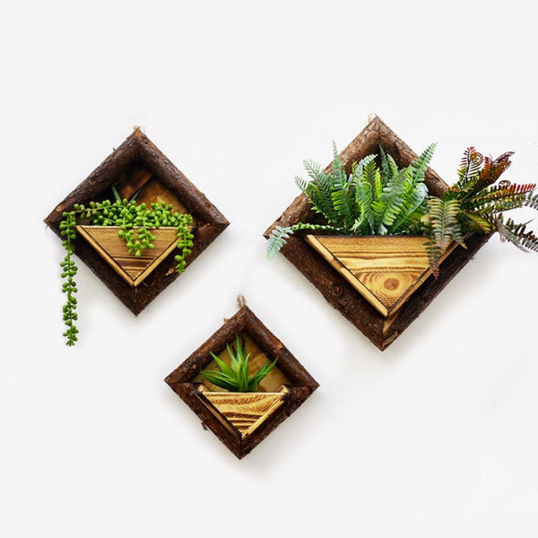 Rustic Wooden Hanging Plant Pot