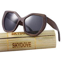 Hexagon Bamboo Polarized Sunglasses for Women
