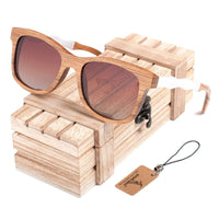 Wooden Sunglasses with White Wavy Arm Detail with Brown lens and wooden chest