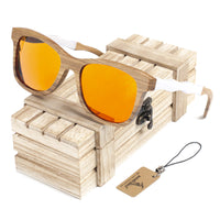 Wooden Sunglasses with White Wavy Arm Detail