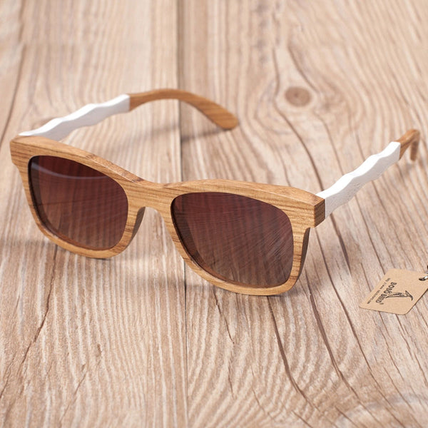 Wooden Sunglasses with White Wavy Arm Detail and Brown lens
