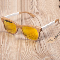 Wooden Sunglasses with White Wavy Arm Detail and yellow lens