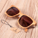 Wooden Sunglasses with White Wavy Arm Detail with brown lens