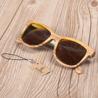 Wooden Sunglasses with White Wavy Arm Detail with yellow lens