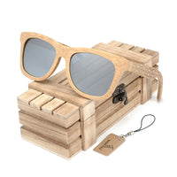 Classic Bamboo Wayfarer Sunglasses with Arm Detail and wooden chest gift box