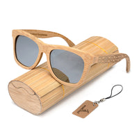 Classic Bamboo Wayfarer Sunglasses with Arm Detail and bamboo glasses case