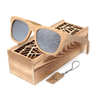Classic Bamboo Wayfarer Sunglasses with Arm Detail and sliding gift box