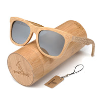 Classic Bamboo Wayfarer Sunglasses with Arm Detail and wooden tube gift box