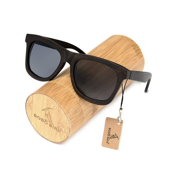 Classic Dark Wooden Wayfarer Sunglasses with grey lens