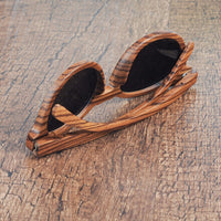 Round Zebra Wood Cat Eye Sunglasses back view