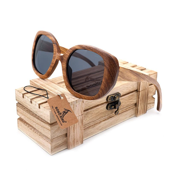 Wooden Oversized Zebra Wood Sunglasses for Women with Wooden Box
