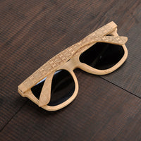 Classic Bamboo Wayfarer Sunglasses with Arm Detail back view