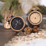 Zebra Wood Watch with Date Function