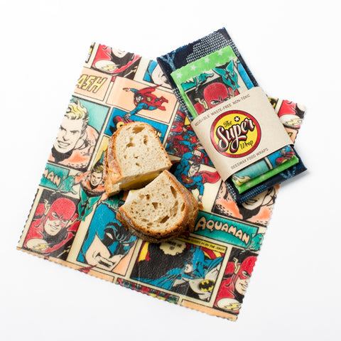 superhero beeswax wrap for kids school lunches